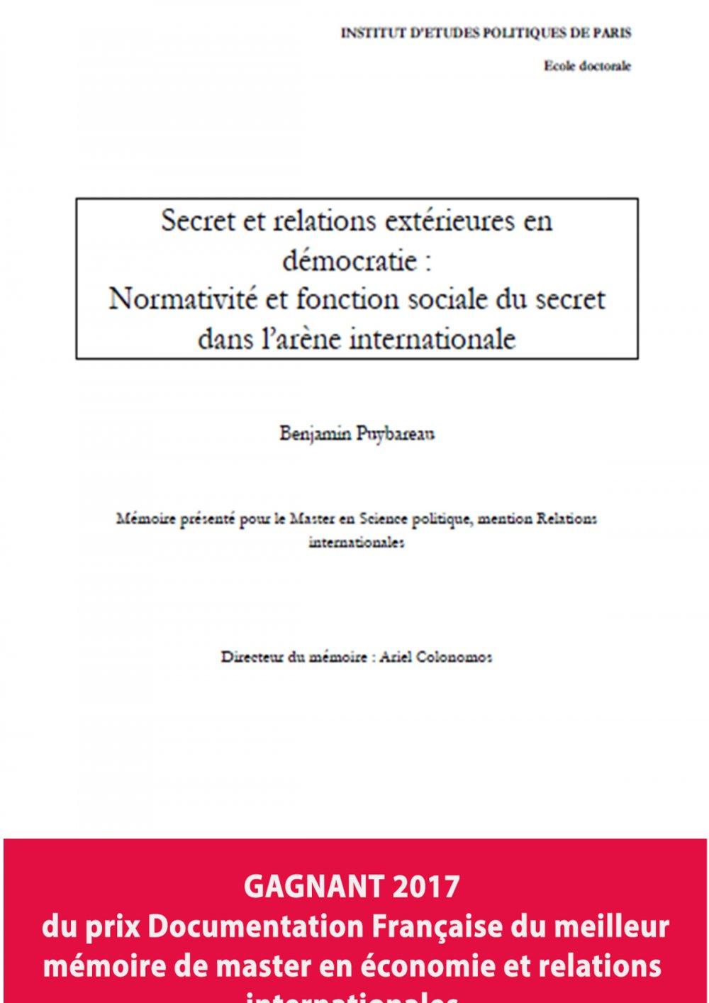 Benjamin PUYBAREAU : Secret et relations extérieures en démocratie