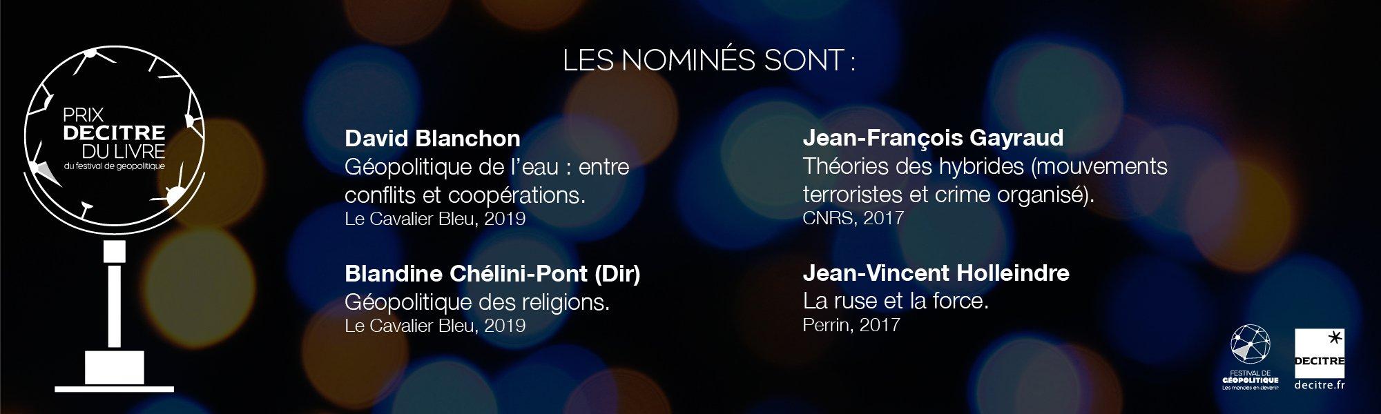 Prix Decitre du livre du festival de géopolitique_nominés
